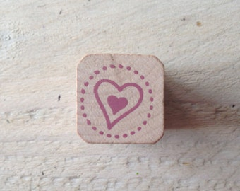 Square Stamp heart (Square Stamp Heart), purple dots (Purple Dots), 2 cm wide (wide)