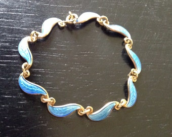 Children's Heirloom Norwegian sterling silver and blue enamel bracelet by designer Arne Nordlie