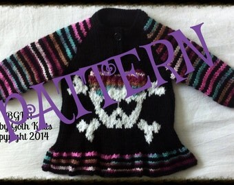 Baby Goth Knits Girls Skull Jumper PATTERN PDF download LARGER sizes Added