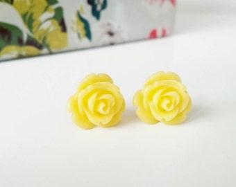 Yellow rose earrings, yellow stud earrings, yellow studs, yellow rose studs, resin flower earrings, resin rose earrings, gold posts