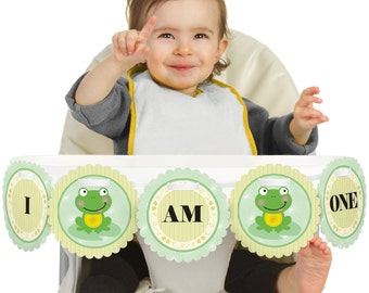 Froggy Frog - 1st Birthday - I Am One - First Birthday High Chair Banner - First Birthday Party Decorations