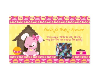 Girl Puppy Baby Shower Scratch Off Game - Girl Puppy Dog - Baby Shower Game - 22 Personalized Game Cards