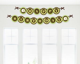 Elephant Birthday Banner - Happy Birthday Garland Banner