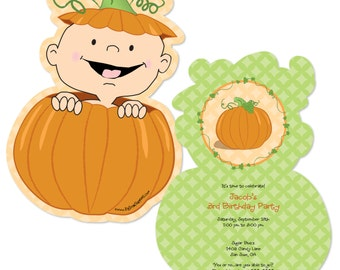 Little Pumpkin Shaped Invitations - Printed for Baby Showers - Set of 12