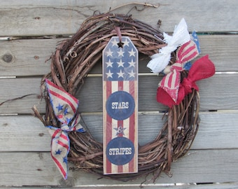 "14"" Fourth Of July Wreath- 4th Of July Wreath- July 4th Wreath- Patriotic Wreath- Grapevine Wreath- Stars & Stripes Wreath- July 4th Decor"