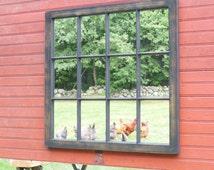 Distressed Window Mirror Frame, Home decor, Shabby chic Mirror, Window Sash, Multi Pane Mirror,window pane, Vanity