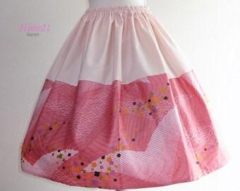 SALE30%OFF--Japanese pattern cotton Skirt, Pink and Crane, Waist  rubberized, Lolita Cosplay, Kimono( Yukata) Fabric, Retro pattern