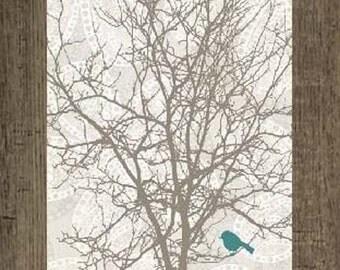 "Faith Bird Tree Red Blue Decor Print Art Framed Picture 13x22"""