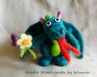 Needle felted friendly dragon