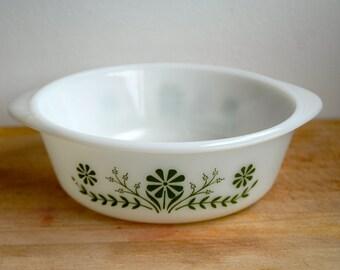 Vintage Retro Glasbake USA Green Daisy  Casserole Dish -- Green Floral