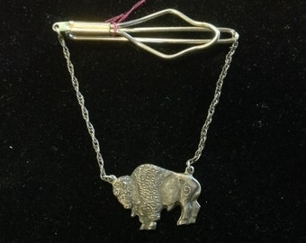 Vintage Sterling Silver Buffalo Tie Bar by Hollands San Angelo Texas