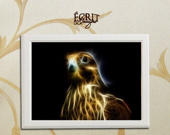 Fractal Falcon Print, Animal Fractal Print, Animal Art Print, Room Wall Art Poster, Wall Decor
