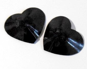 HEARTS DESIRE Black PVC Nipple Pasties Covers Burlesque