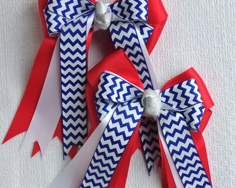 Horse Show Hair Bows/Chevron/Patriotic/Red White Blue