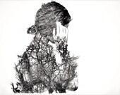 """Hand made drypoint etching portrait """"Winter Portrait"""". Intaglio A4."""