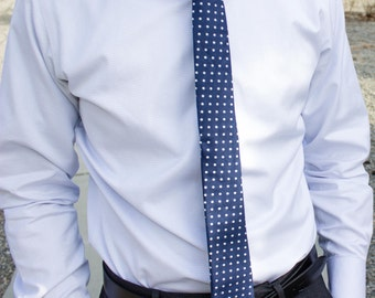 Navy blue and white polka-dot skinny tie