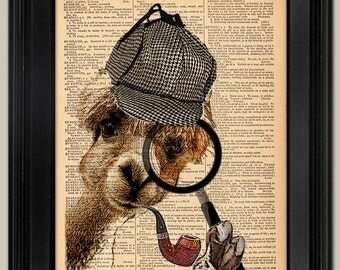 "Lama Detective. Upcycled vintage book page art print. Print on book page.   Fits 8""x10"" frame."