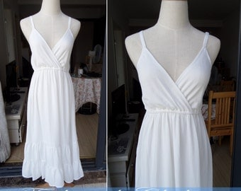 white long dress summer sleeveless dress V-neck chiffon dress clothing beach long dress for women