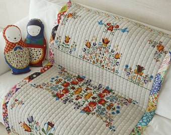 Scandinavian Style Hungarian Embroidery Design Natural Quilted Fabric - 3 Design Selection