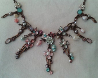 Vintage bead costume jewelry necklace in pinks and turquioses.