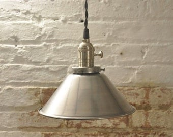 Unfinished Steel Cone Shade Industrial Pendant Light Fixture Rustic Vintage Retro