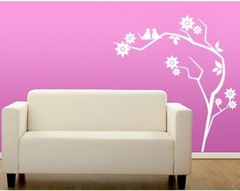 Retro Branch flower wall decal, sticker, mural, vinyl wall art