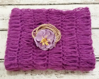 NEWBORN MOHAIR WRAP, Crochet Baby Mohair Wrap, Mohair Lace Wrap * Purple * Photography Prop