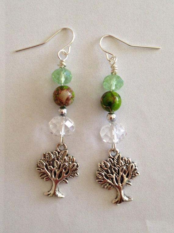 Boucles d'oreilles perles vertes