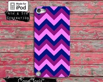 Chevron Pattern Pink Blue Purple Pattern Cute Custom Case iPod Touch 4th Generation or iPod Touch 5th Generation or iPod Touch 6th Gen