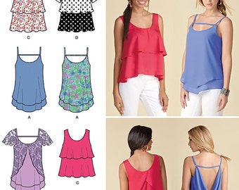 OUT of PRINT Simplicity Pattern 1424 Misses' Pullover Tops with Back Interest