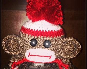 Newborn sock monkey photo prop hat