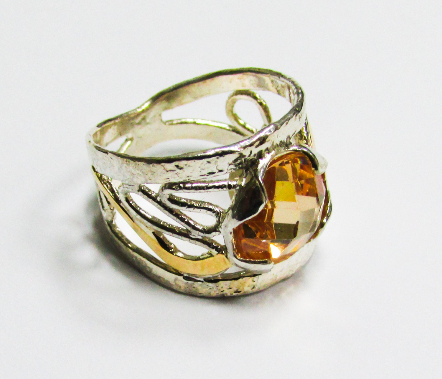 silver and gold ring unique rings womens rings by