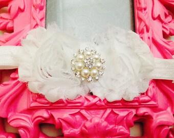 White baby shabby flowers rhinestone headband-newborn white headband-flowers baby headband