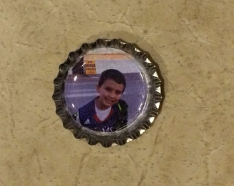 SET OF 6 - Personalized Photo Bottle-cap Magnets