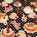 Black kawaii Japanese cotton fabric 110x100cm, tea party, sweets, cakes