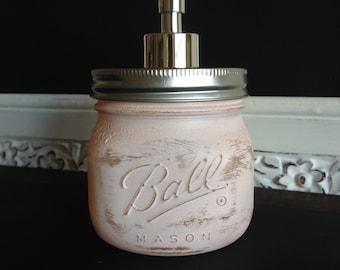 Ballet Pink Square Ball Mason Jar Soap dispenser