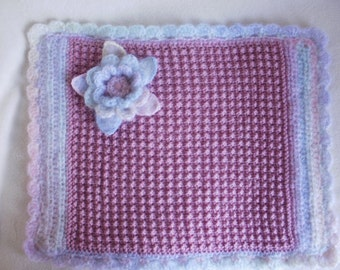 Small dog or cat blanket, pet blanket, baby blanket, wool mix, pink yarn, soft rainbow mohair blend.  For the pampered pooch or puss.