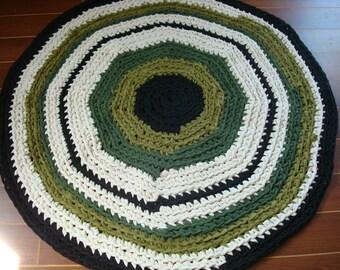 Up-cycled T Shirt Round Area Rug - Crochet Tshirt Yarn Rug - OOAK 34 Inch Diameter  - Green/Off White/Black - Ready to SHIP