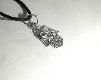 Fatima Hand Necklace, Hamsa Sterling Silver Hamsa Hand Leather Cord Necklace 925 Sterling Silver Amulet Necklace, Hamsa Jewelry Charm