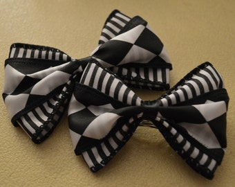 Checkers and Stripes Gothic Lolita Hair Bow