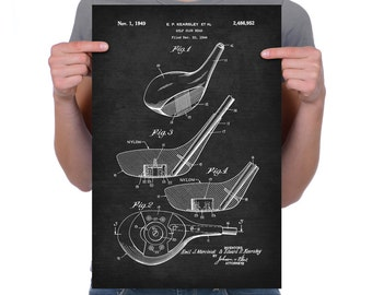 "Vintage 1949 ""Golf Club Head"" Patent Drawing, Retro Art Print Poster, Canvas, Wall Art, Home Decor, Golfing, Game Of Golf, Gift Idea"