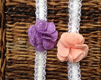 Lace headwrap in pretty pastels for your little ones hair.