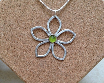 Flower Pendant, Handmade, sterling silver, Tourmaline gemstone, Green Pendant, Gift for her