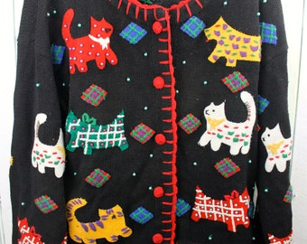 VIntage Kitty Cat and Dog Sweater