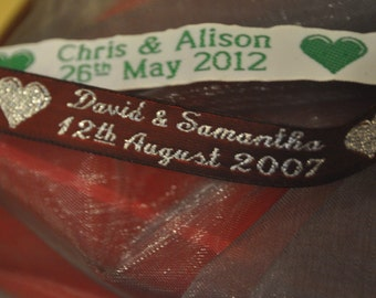 Personalised Celebration Ribbon 12mm wide (10, 20, 30, 40, 50 and 60 metres)