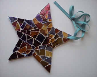 Mosaic Hanging Star -  Mirror Tiles Crazy Paving Look Hanging Star Ornament