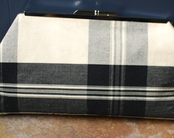 Cotton Clutch, Ivory Black Purse