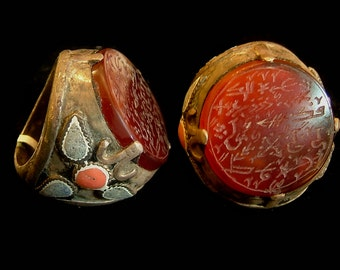 Aqeeq, Vintage prayer inscribed Carnelian ring from Afghanistan, tribal silver. size 12.5