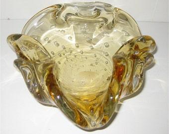 Murano Ashtray /Hand Blown Glass /Light Merrygold