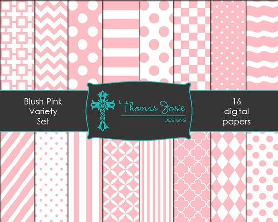 Blush Pink Digital Paper Backgrounds Striped Digital Polka Dot Digital Chevron Digital Quatrefoil Pattern Papers 8.5 x 11 - Instant Download